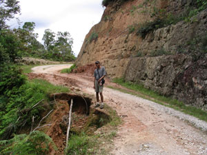 Narrow and dangerous road that cuts through reserve